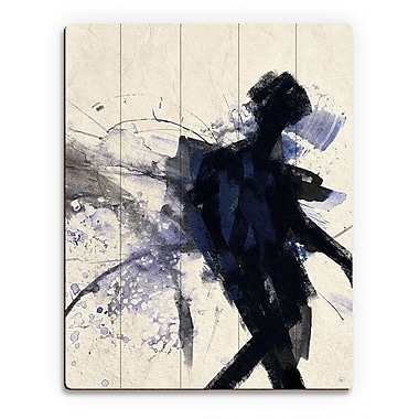 Click Wall Art 'Shadow Figure Indigo' Painting Print on Wood; 24'' H x 20'' W x 1'' D