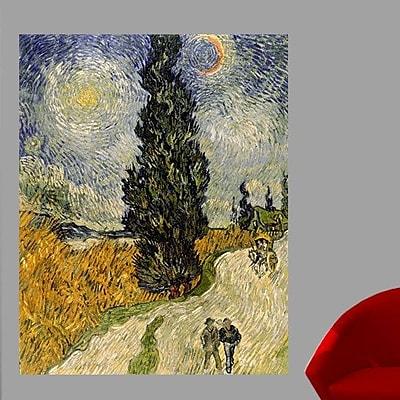 Wallhogs Van Gogh Road w/ Cypresses (1890) Wall Mural; 36'' H x 28.5'' W
