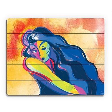 Click Wall Art 'Diagonal Green Line' Painting Print on Wood; 20'' H x 24'' W x 1'' D