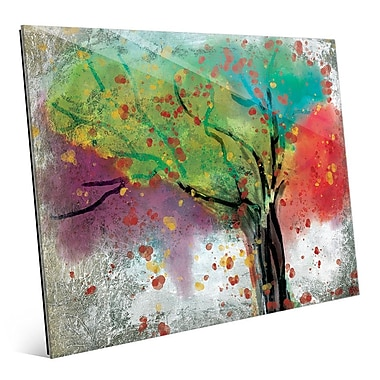Click Wall Art 'Changing Trees' Painting Print on Glass; 11'' H x 14'' W x 1'' D