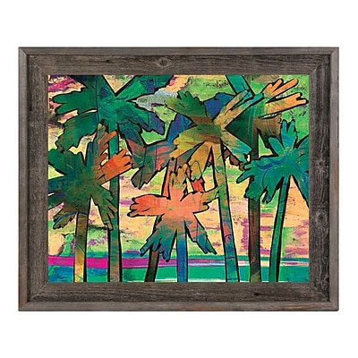Click Wall Art 'Psycho Palms Theta' Framed Painting Print; 19.5'' H x 23.5'' W x 1'' D