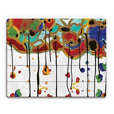 Click Wall Art 'Melting Colorful Trees' Painting Print on Wood; 11'' H x 14'' W x 1'' D