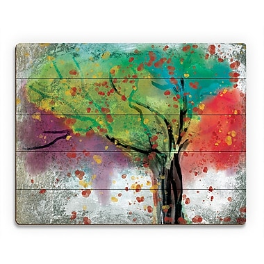 Click Wall Art 'Changing Trees' Painting Print on Wood; 20'' H x 24'' W x 1'' D