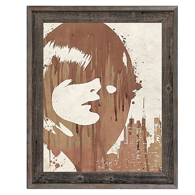 Click Wall Art 'Drippy City Girl Brown' Framed Painting Print; 27.5'' H x 23.5'' W x 1'' D