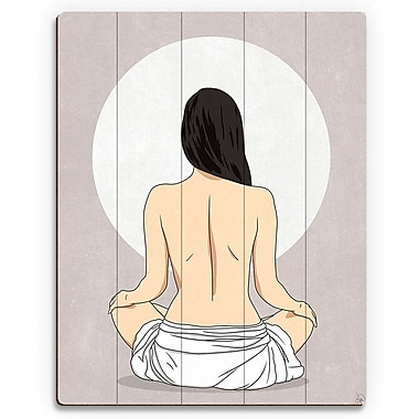 Click Wall Art 'Sun Meditation Gray' Graphic Art on Wood; 20'' H x 16'' W x 1'' D
