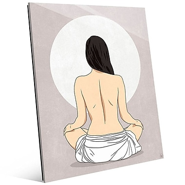 Click Wall Art 'Sun Meditation Gray' Graphic Art; 14'' H x 11'' W x 1'' D