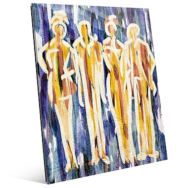 Click Wall Art 'Abstract Group Indigo' Painting Print on Glass; 14'' H x 11'' W x 1'' D