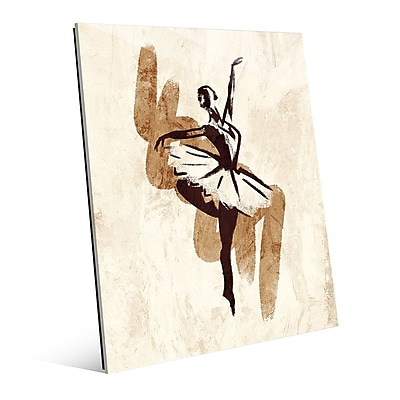 Click Wall Art 'Gestural Ballerina Brown' Painting Print on Glass; 14'' H x 11'' W x 1'' D