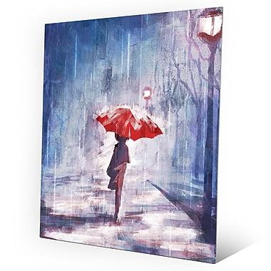 Click Wall Art 'A Rainy Walk' Painting Print on Metal; 20'' H x 16'' W x 0.04'' D