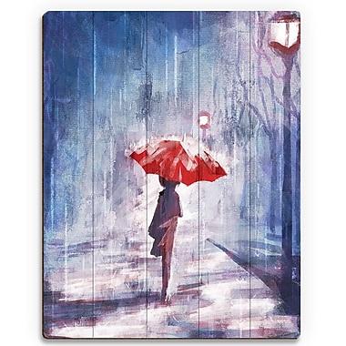 Click Wall Art 'A Rainy Walk' Painting Print on Wood; 12'' H x 9'' W x 1'' D