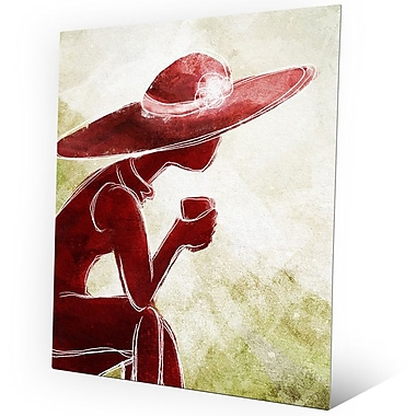 Click Wall Art 'Coffee Brake Red' Painting Print on Metal; 24'' H x 20'' W x 0.04'' D