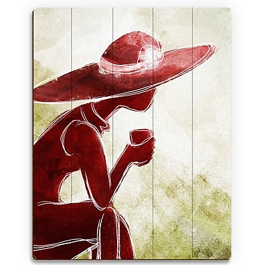Click Wall Art 'Coffee Brake Red' Painting Print on Wood; 14'' H x 11'' W x 1'' D