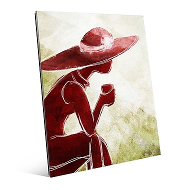 Click Wall Art 'Coffee Brake Red' Painting Print on Glass; 24'' H x 20'' W x 1'' D