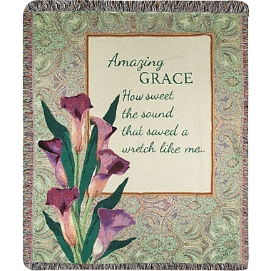 Manual Woodworkers & Weavers Amazing Grace How? Sound Tapestry Cotton Throw