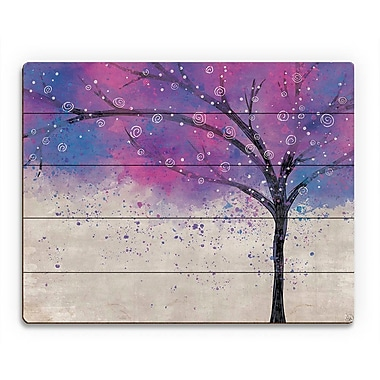 Click Wall Art 'Sparkle Tree Purple' Graphic Art on Wood; 20'' H x 30'' W x 1'' D