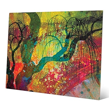 Click Wall Art 'Willowing Chartreuse Silhouette' Graphic Art on Metal; 20'' H x 24'' W x 0.04'' D