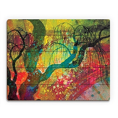 Click Wall Art 'Willowing Chartreuse Silhouette' Graphic Art on Wood; 16'' H x 20'' W x 1'' D