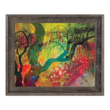Click Wall Art 'Willowing Chartreuse Silhouette' Framed Graphic Art ; 23.5'' H x 27.5'' W x 1'' D