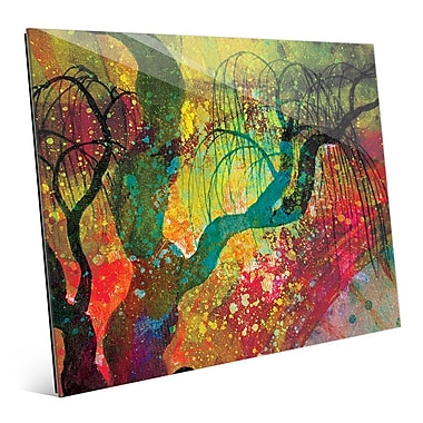 Click Wall Art 'Willowing Chartreuse Silhouette' Graphic Art; 16'' H x 20'' W x 1'' D