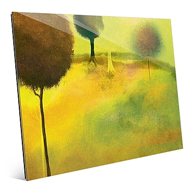 Click Wall Art 'Surreal Chartreuse Garden' Painting Print on Glass; 11'' H x 14'' W x 1'' D