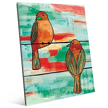 Click Wall Art 'Two Wire Birds Omega' Painting Print; 24'' H x 20'' W x 1'' D