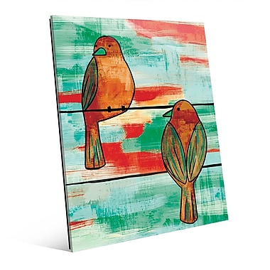 Click Wall Art 'Two Wire Birds Omega' Painting Print on Glass; 10'' H x 8'' W x 1'' D
