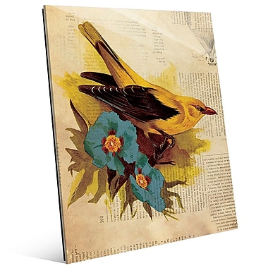 Click Wall Art 'Goldfinch w/ Blue Flowers' Graphic Art on Glass; 24'' H x 20'' W x 1'' D