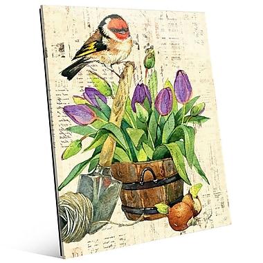 Click Wall Art 'Garden Bird and Purple Tulips' Graphic Art on Glass; 10'' H x 8'' W x 1'' D