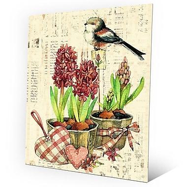 Click Wall Art 'Bird and Garden Flowers Warm' Graphic Art on Metal; 14'' H x 11'' W x 0.04'' D