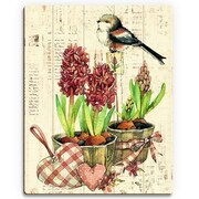 Click Wall Art 'Bird and Garden Flowers Warm' Graphic Art on Wood; 12'' H x 9'' W x 1'' D