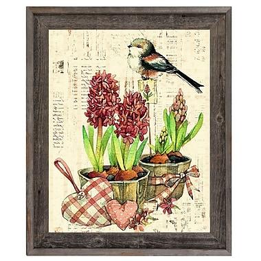 Click Wall Art 'Bird and Garden Flowers Warm' Framed Graphic Art ; 27.5'' H x 23.5'' W x 1'' D