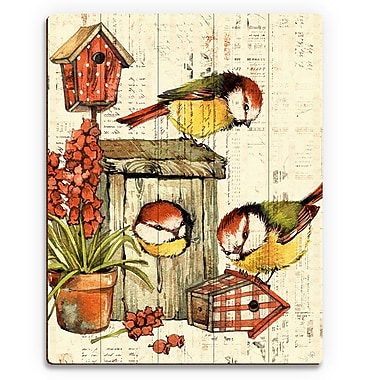 Click Wall Art 'Garden Birdhouse Orange' Graphic Art on Wood; 14'' H x 11'' W x 1'' D