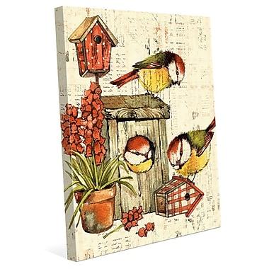 Click Wall Art 'Garden Birdhouse Orange' Graphic Art on Wrapped Canvas; 40'' H x 30'' W x 1.5'' D