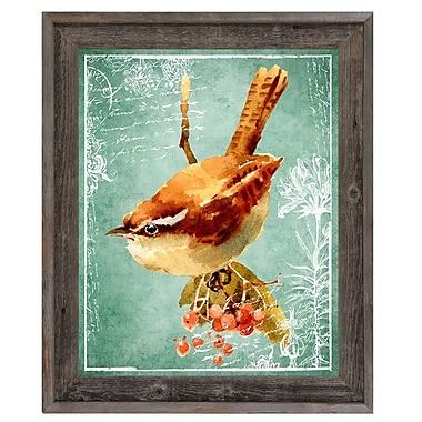 Click Wall Art 'Sparrow on Green' Framed Graphic Art; 17.5'' H x 14.5'' W x 1'' D
