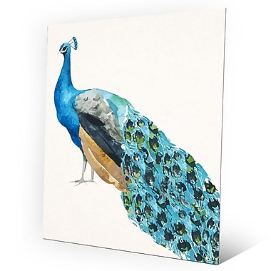 Click Wall Art 'Watercolor Peacock' Painting Print on Metal; 24'' H x 20'' W x 0.04'' D