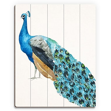 Click Wall Art 'Watercolor Peacock' Painting Print on Wood; 30'' H x 20'' W x 1'' D
