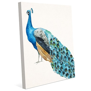 Click Wall Art 'Watercolor Peacock' Painting Print on Wrapped Canvas; 24'' H x 20'' W x 1.5'' D