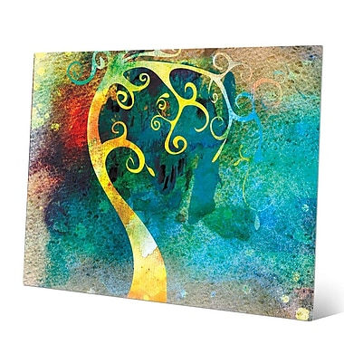 Click Wall Art 'Citrine Curved Trunk' Graphic Art on Metal; 8'' H x 10'' W x 0.04'' D