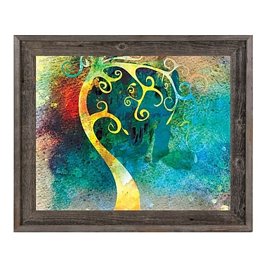 Click Wall Art 'Citrine Curved Trunk' Framed Graphic Art ; 19.5'' H x 23.5'' W x 1'' D