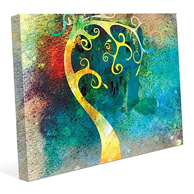 Click Wall Art 'Citrine Curved Trunk' Graphic Art on Wrapped Canvas; 8'' H x 10'' W x 0.75'' D