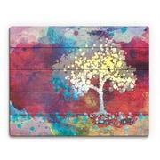 Click Wall Art 'Spotty Cerulean Birch' Graphic Art on Wood; 16'' H x 20'' W x 1'' D
