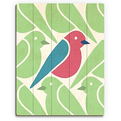 Click Wall Art 'Birds Birds Birds Green' Graphic Art on Wood; 14'' H x 11'' W x 1'' D