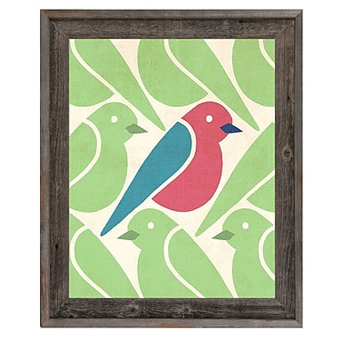 Click Wall Art 'Birds Birds Birds Green' Framed Graphic Art; 17.5'' H x 14.5'' W x 1'' D