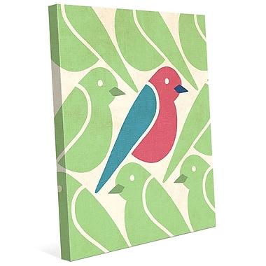 Click Wall Art 'Birds Birds Birds Green' Graphic Art on Wrapped Canvas; 30'' H x 20'' W x 1.5'' D
