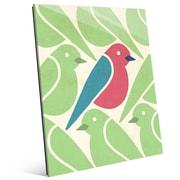 Click Wall Art 'Birds Birds Birds Green' Graphic Art; 14'' H x 11'' W x 1'' D