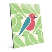 Click Wall Art 'Birds Birds Birds Green' Graphic Art on Glass; 20'' H x 16'' W x 1'' D