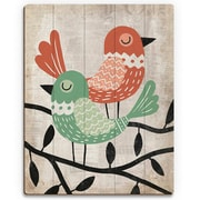 Click Wall Art 'Fancy Birds Green and Red' Graphic Art on Wood; 24'' H x 20'' W x 1'' D