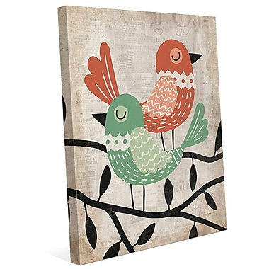 Click Wall Art 'Fancy Birds Green and Red' Graphic Art on Wrapped Canvas; 36'' H x 24'' W x 1.5'' D