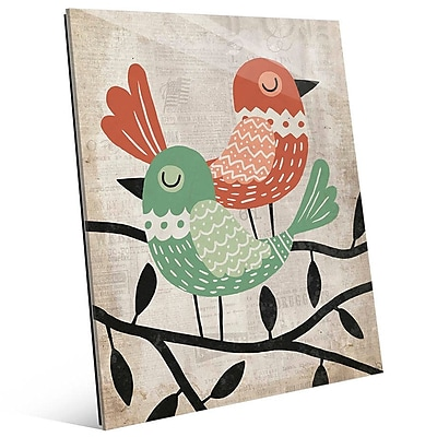 Click Wall Art 'Fancy Birds Green and Red' Graphic Art; 14'' H x 11'' W x 1'' D