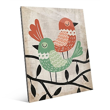 Click Wall Art 'Fancy Birds Green and Red' Graphic Art on Glass; 10'' H x 8'' W x 1'' D